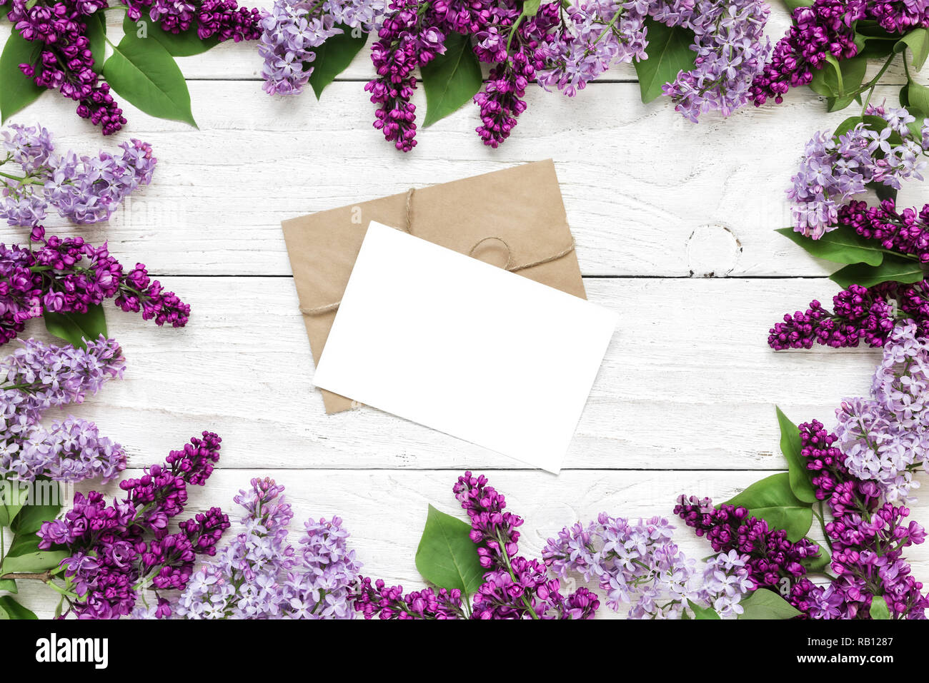 Blank Greeting Card Or Wedding Invitation In Frame Made Of
