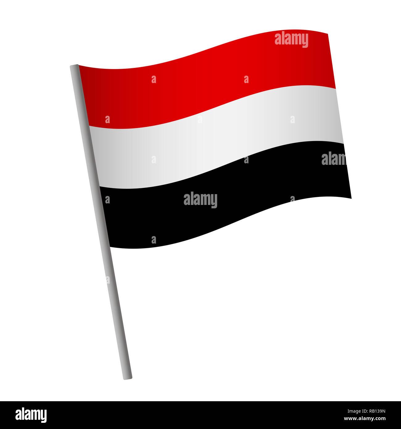 Yemen flag icon. National flag of Yemen on a pole  illustration. - Stock Image