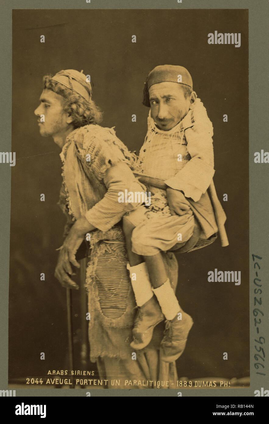 Arabs sirians  Blind bear a paralitic c1889 by Dumas, Tancrde R