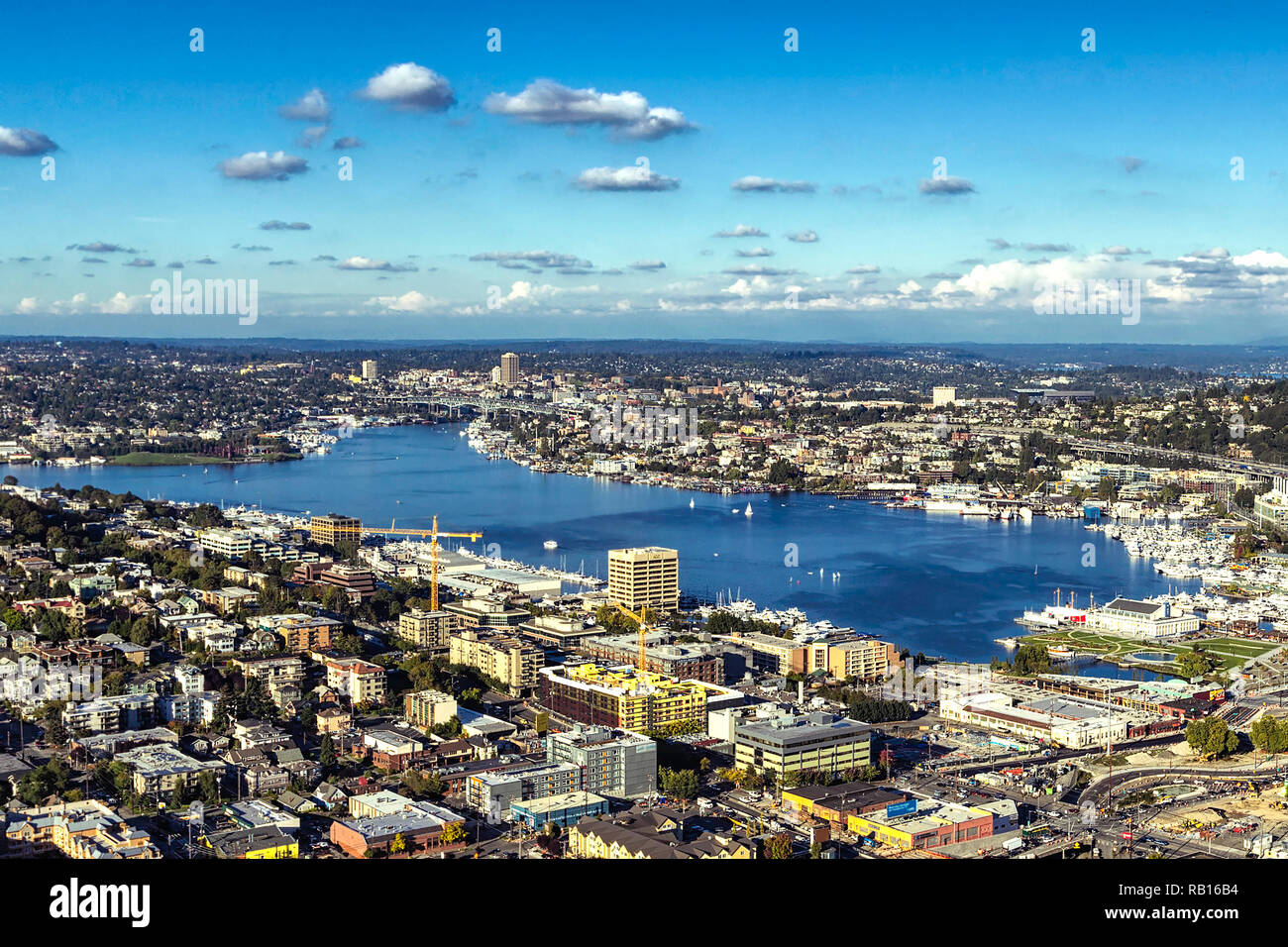 Lake Union and surrounding districts view in Seattle, USA - Stock Image