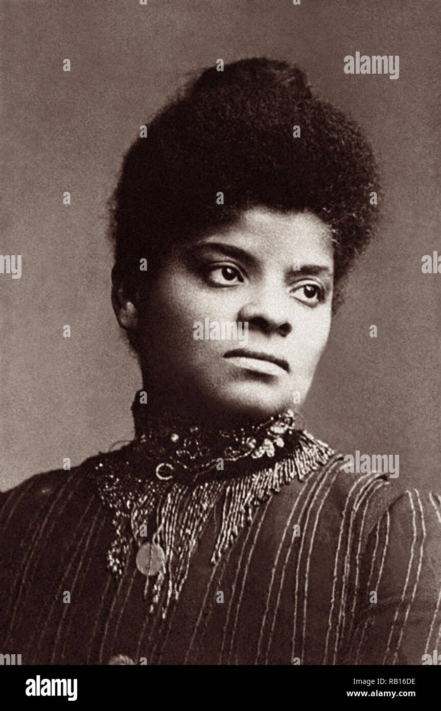 Born into slavery, Ida B. Wells was an African-American investigative journalist, educator, and an early leader in the Civil Rights Movement. (Photo circa 1893 or 1894) - Stock Image