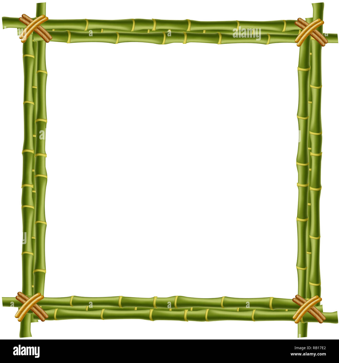 Wooden Frame Made Of Green Bamboo Sticks With Space For Text Or Image Mockup Clip Art Border Template Photo Frame Isolated On White Background Stock Photo Alamy