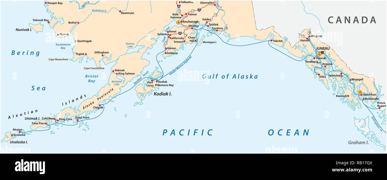 Map of the Alaska Marine Highway System, ferry, United States - Stock Vector