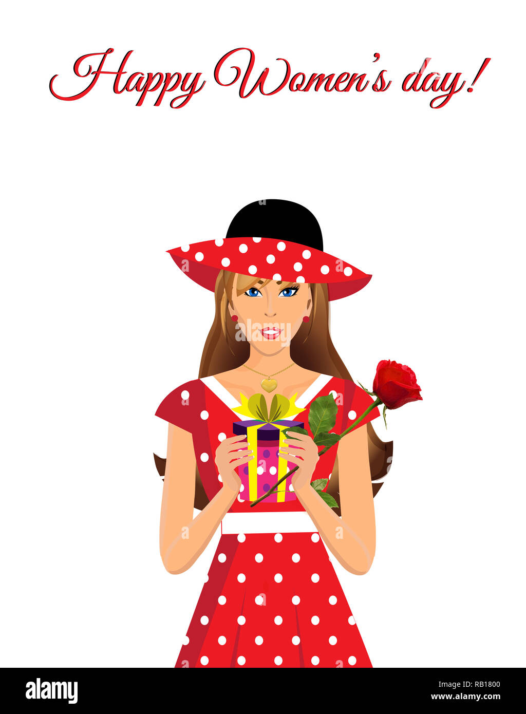 Happy women s day greeting card with cute adorable girl in red dress with polka dots print and hat holding gift and beautiful rose in hands isolated o - Stock Image