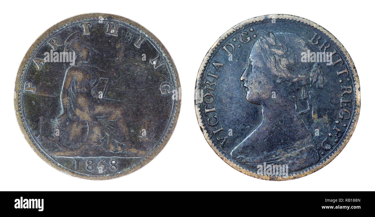 1868 British Victorian Farthing (quarter of a penny) coin - Stock Image