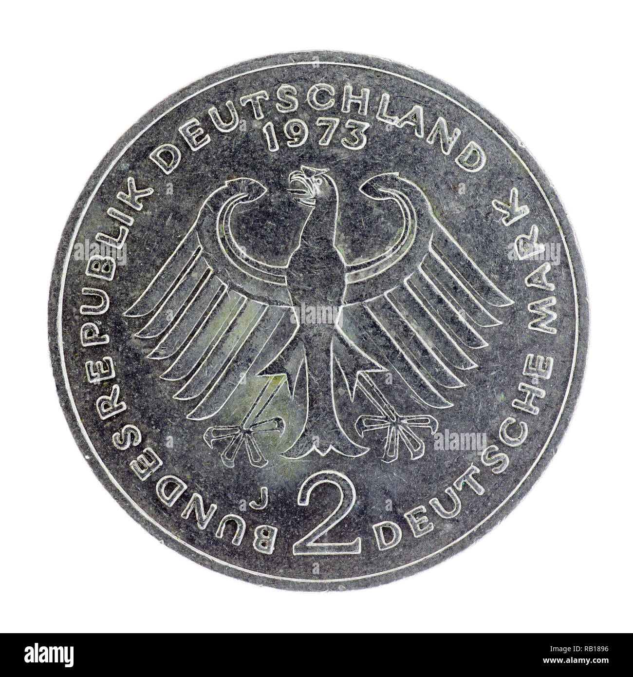 German pre-Euro 2 Deutschmark coin dated 1973 - Stock Image
