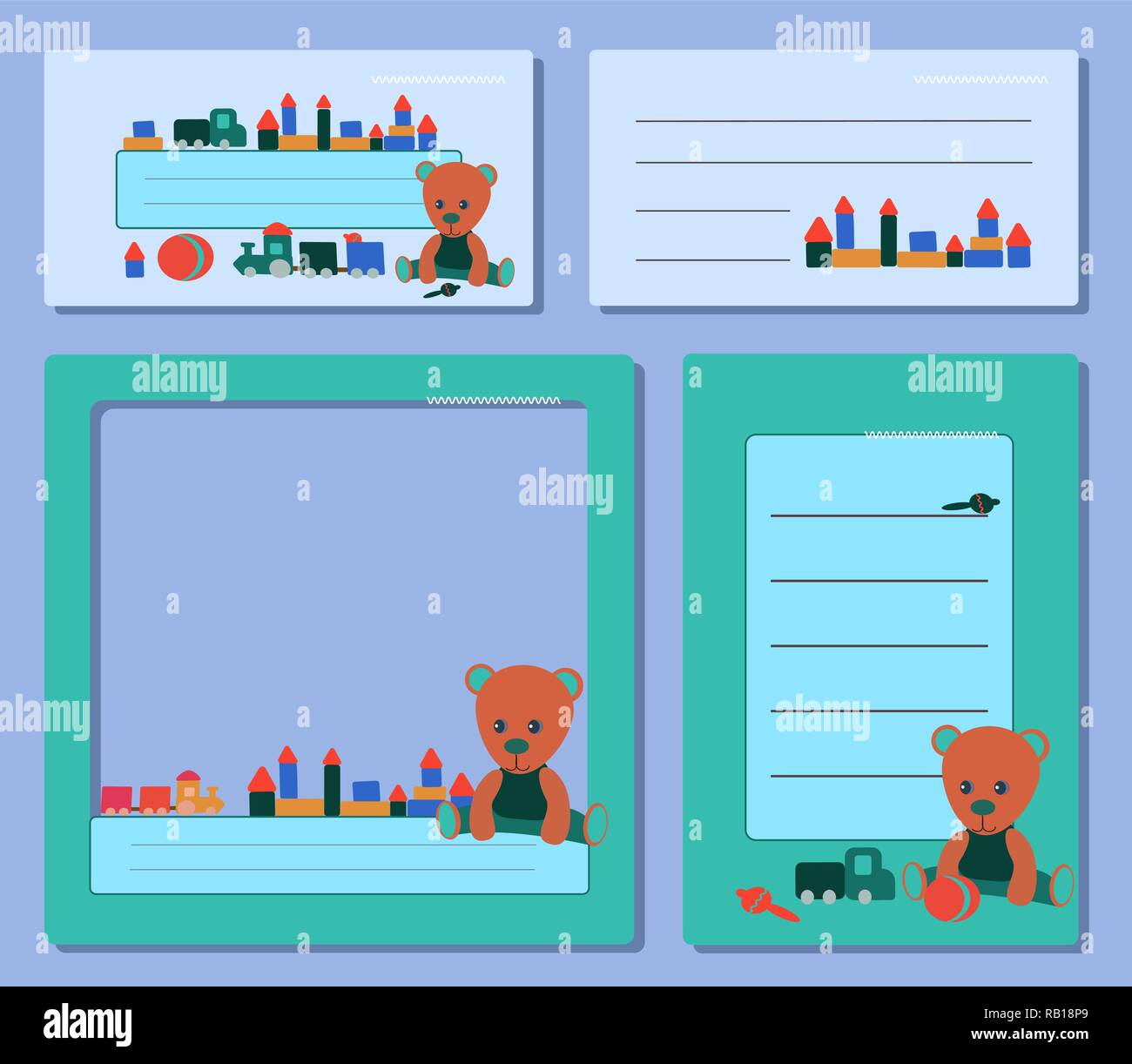 set blue tags, with a teddy bear in green clothes and toys for the boy and girl. for social media frame notes - Stock Vector