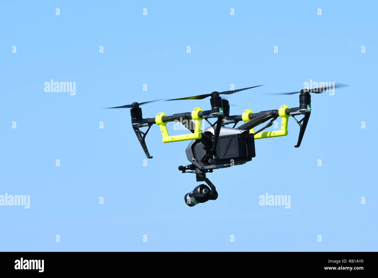 DJI Inspire 2 Quadcopter, a drone fitted with video camera in the sky. - Stock Image