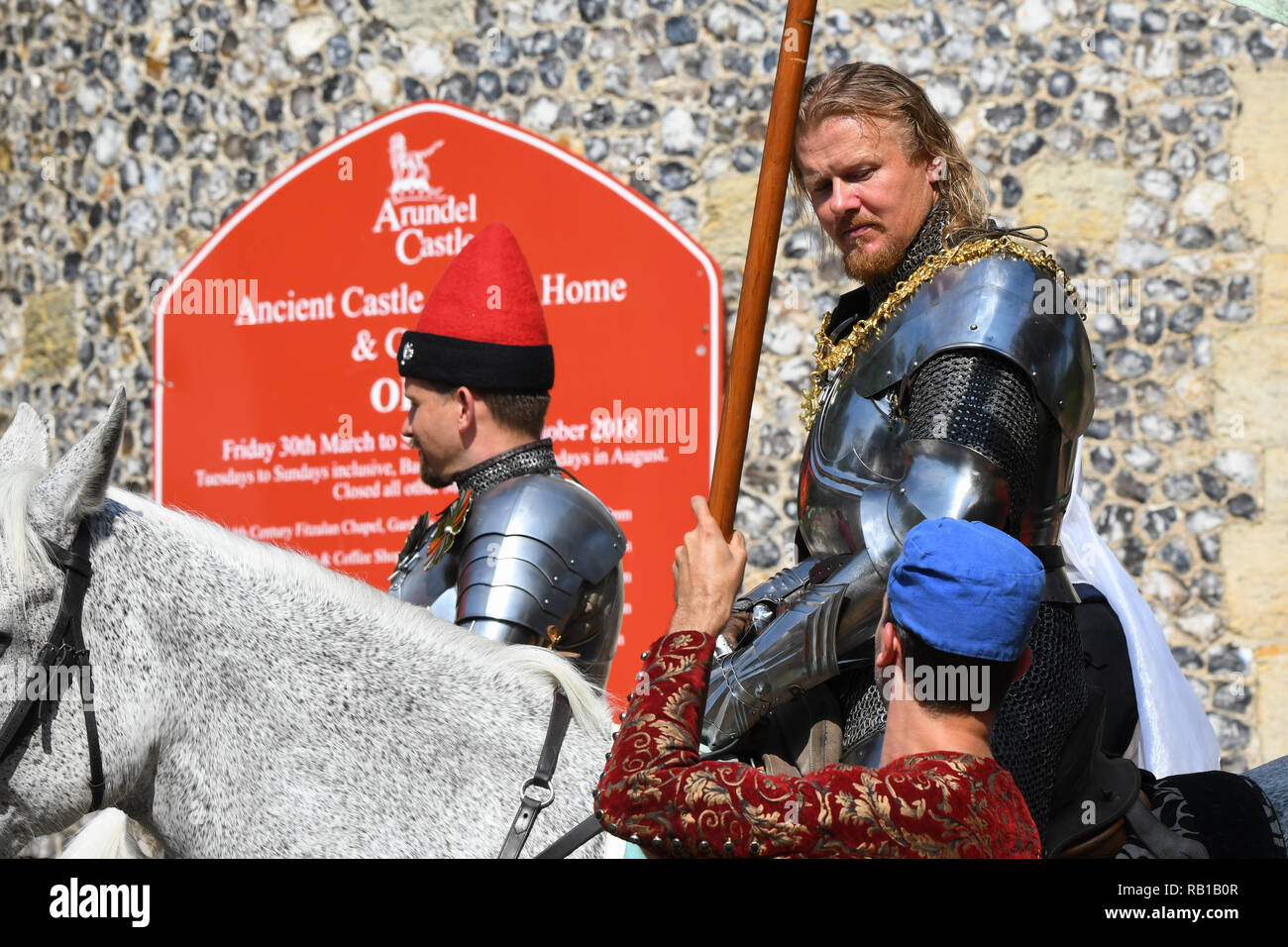 July 2018 International Jousting and Medieval Tournament Week in Arundel, West Sussex, England, UK, - Stock Image