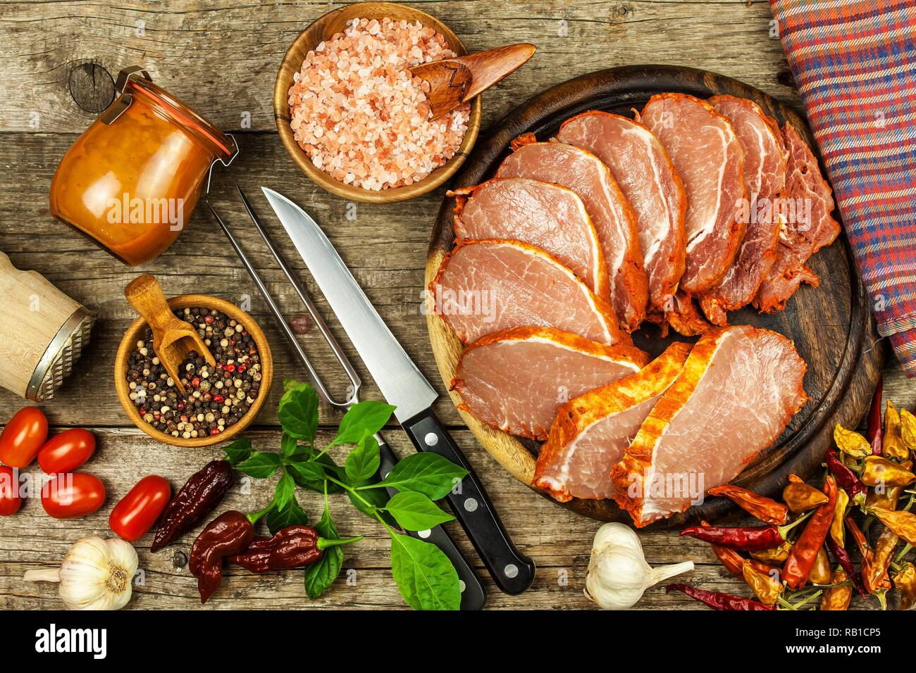 Raw pork chop with or marinade  Home preparation of meat for