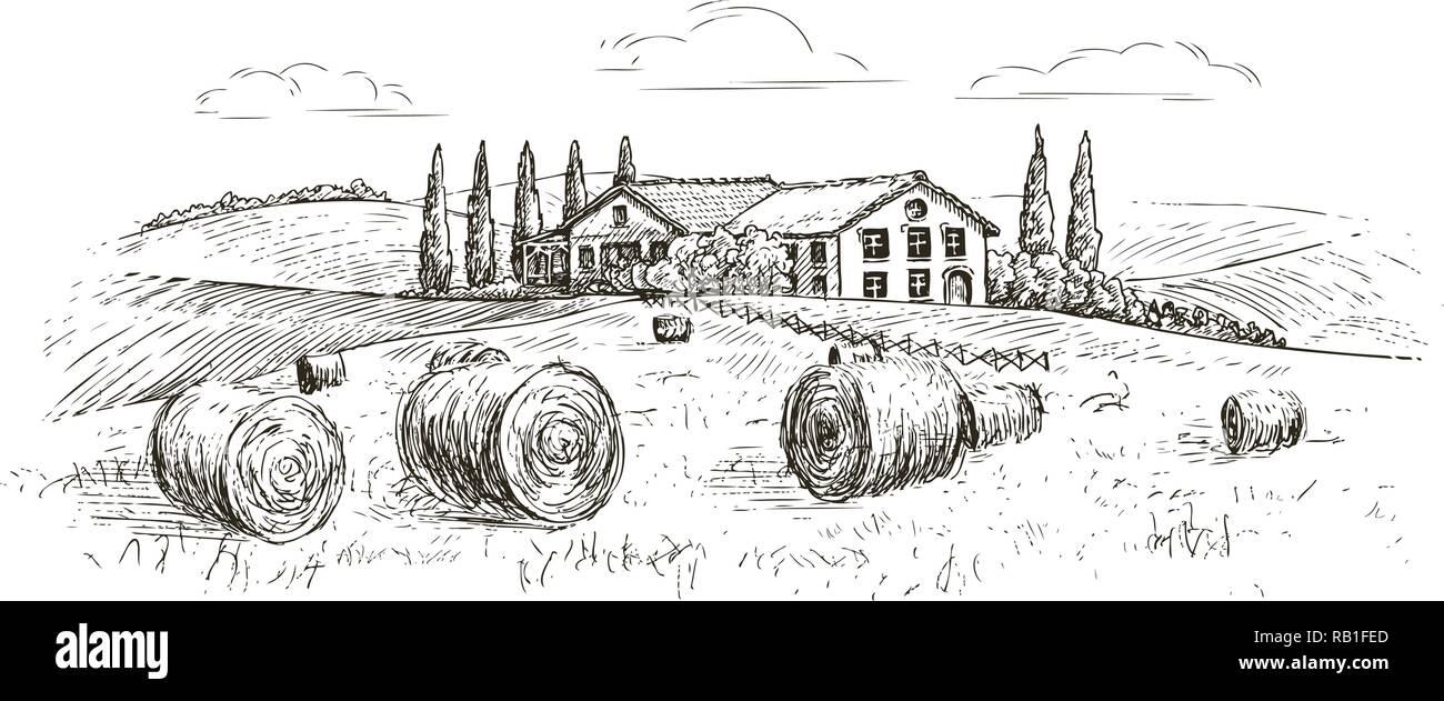 Rural landscape, village sketch. Farm, vintage vector illustration - Stock Vector