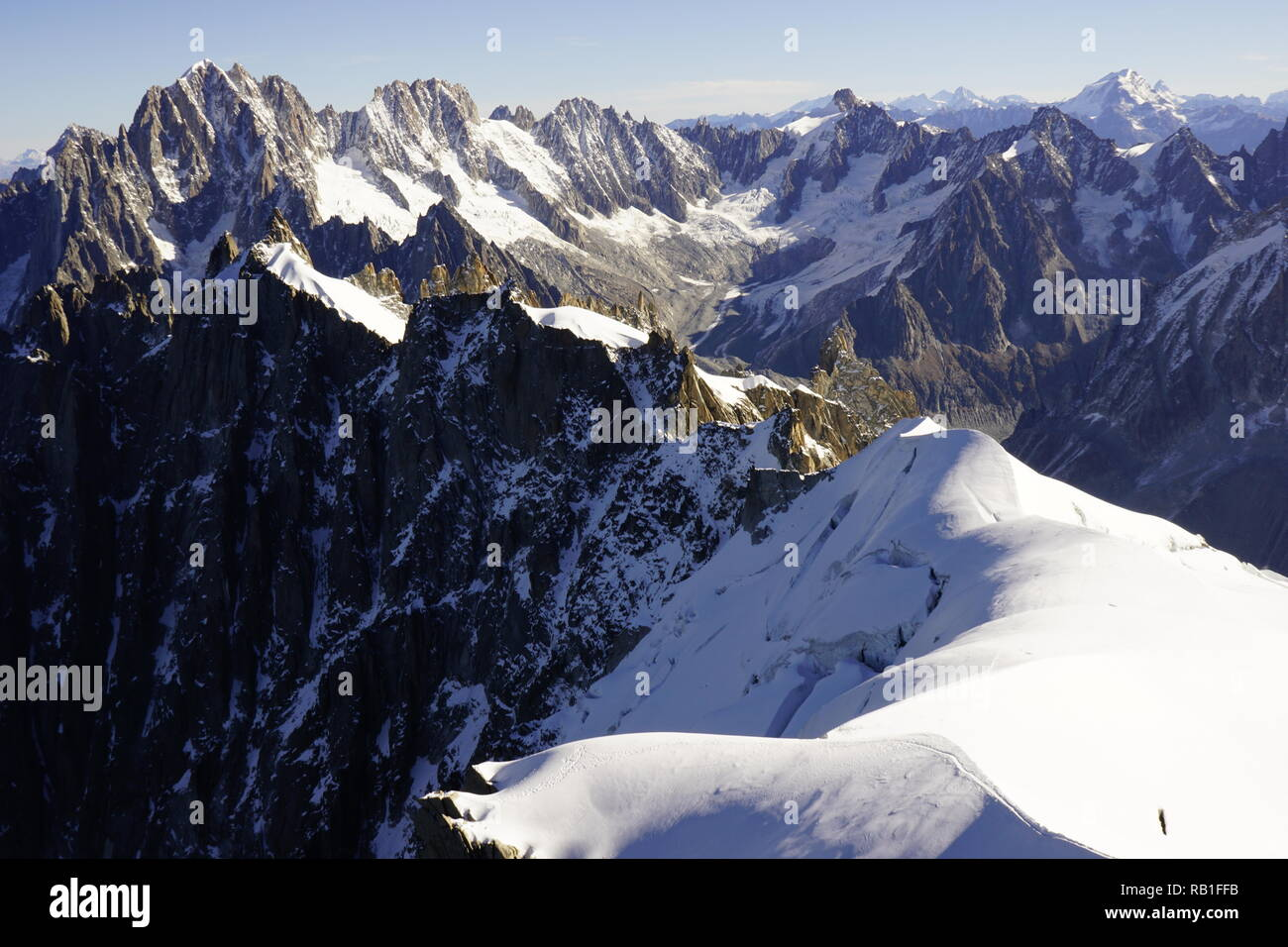 view from Aiguille du midi Stock Photo