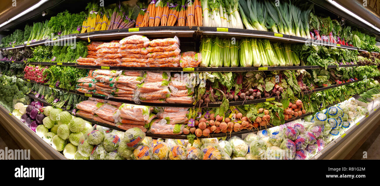 Vegetable shelves in the Whole Foods Market - Stock Image