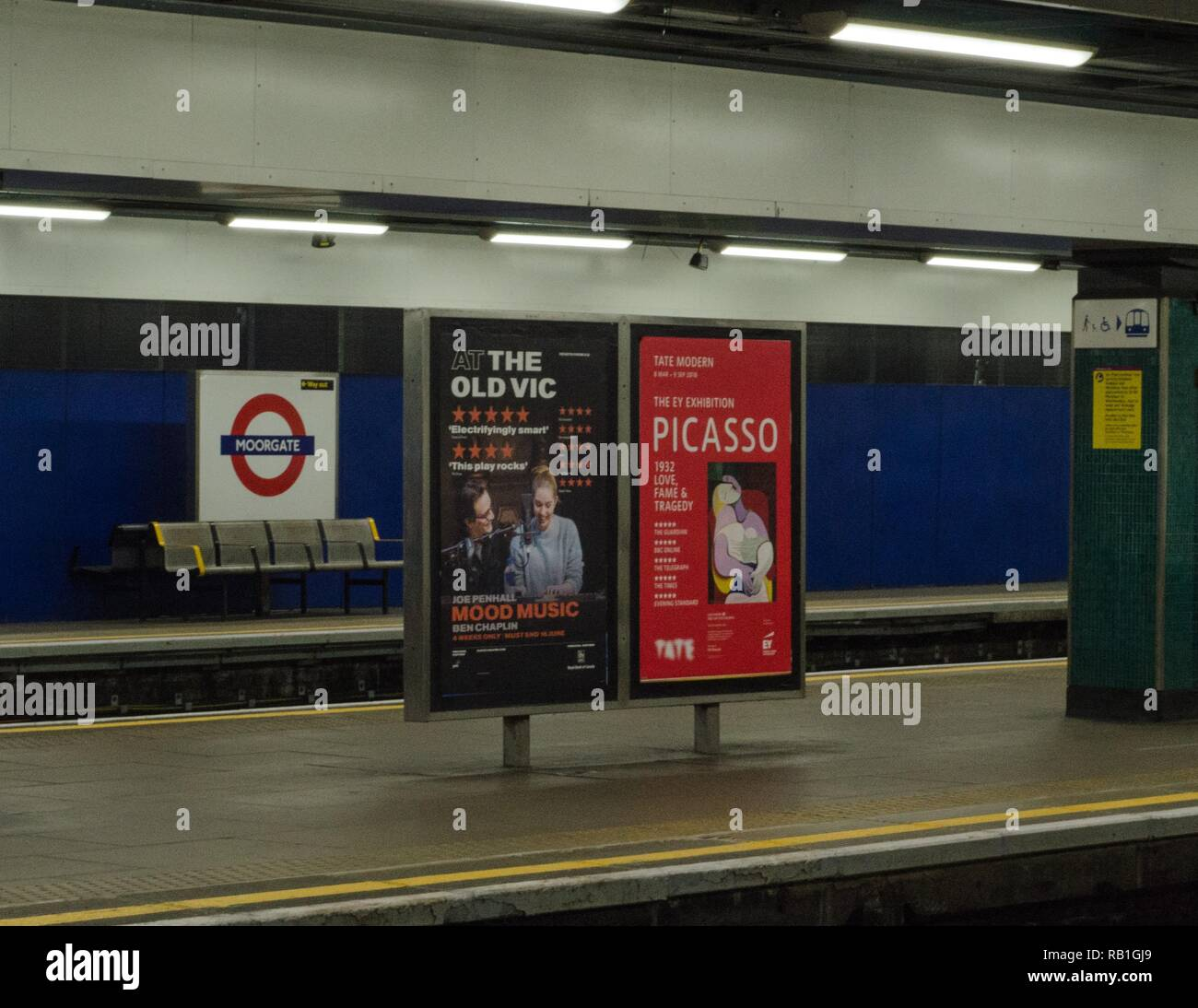 Advertising at the Moorgate Tube Station, London - Stock Image
