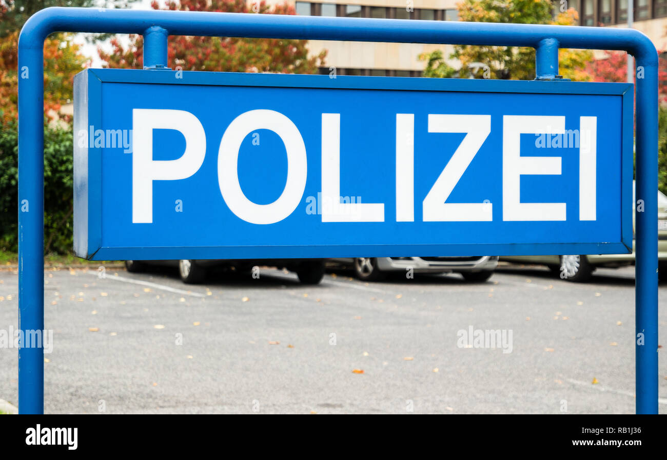 German Police station sign - Stock Image