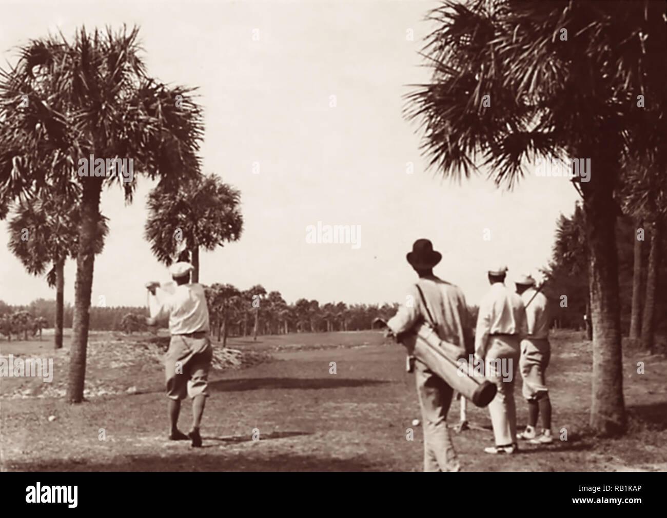 Golfing in Palm Beach, Florida (circa 1860-1920). - Stock Image