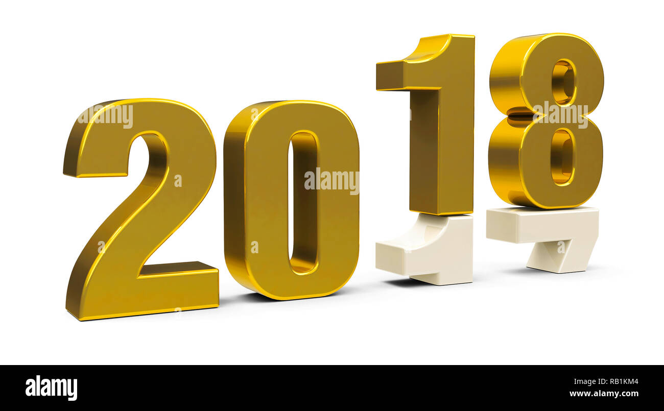 Gold 2017-2018 change represents the new year 2018, three-dimensional rendering, 3D illustration - Stock Image