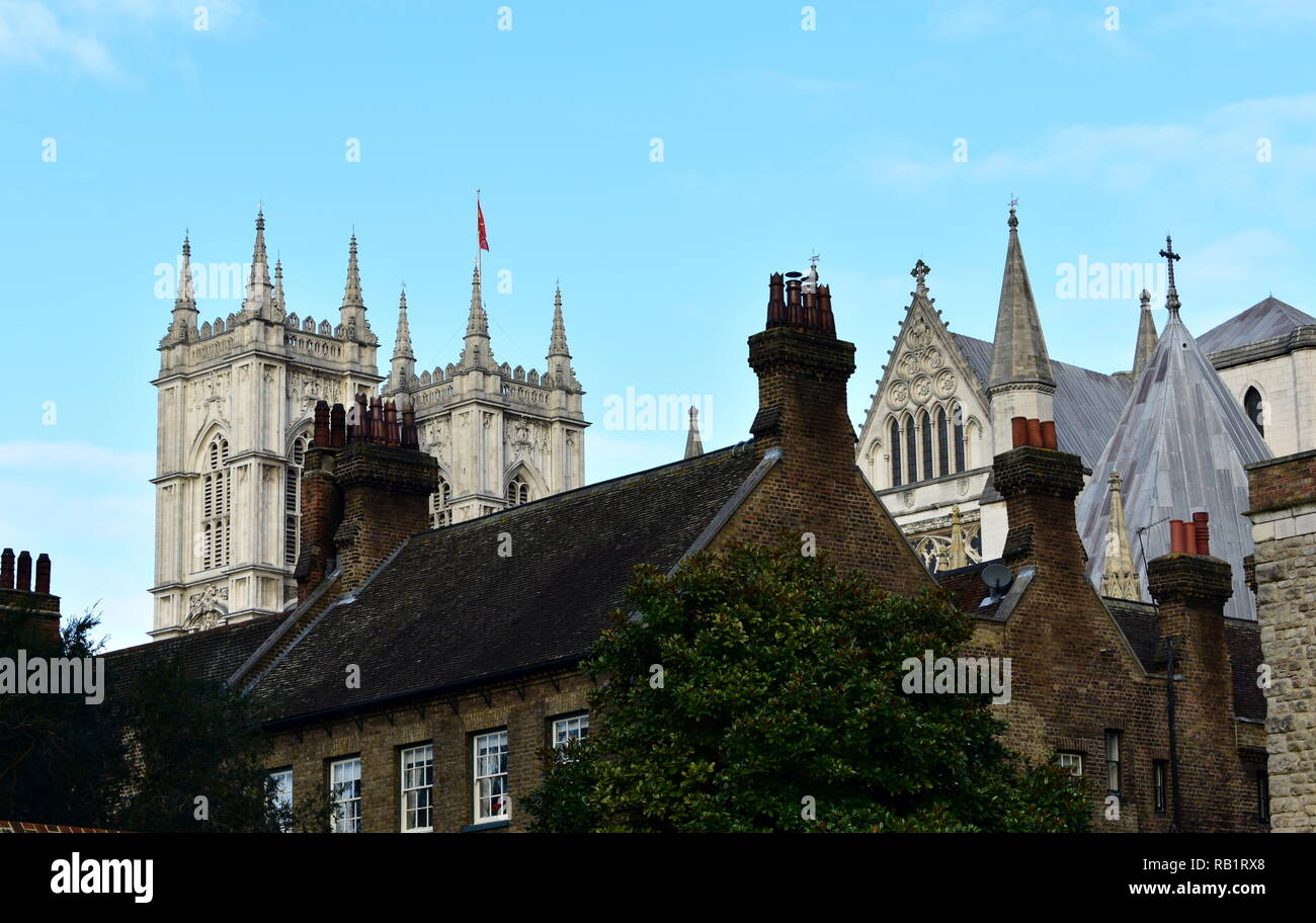 Westminster Abbey from the Jewel Tower with roofs and chimneys. London, United Kingdom. - Stock Image