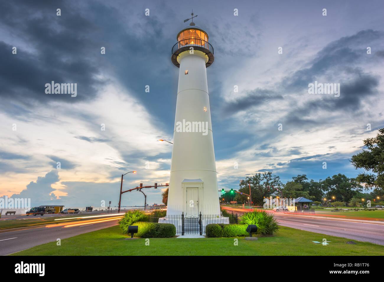 Biloxi Mississippi Usa At Biloxi Lighthouse At Dusk Stock Photo Alamy
