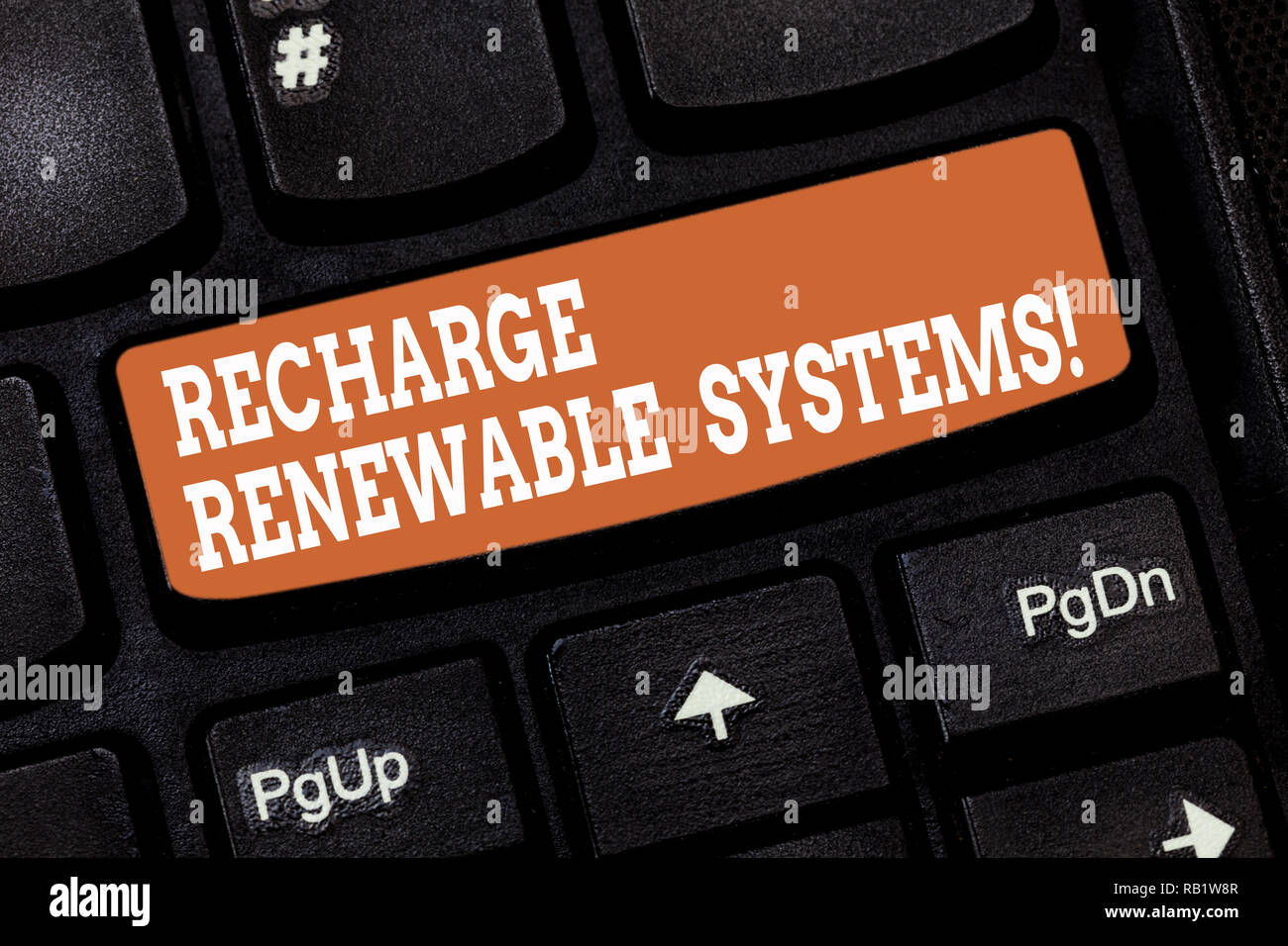 Handwriting text writing Recharge Renewable Systems  Concept meaning