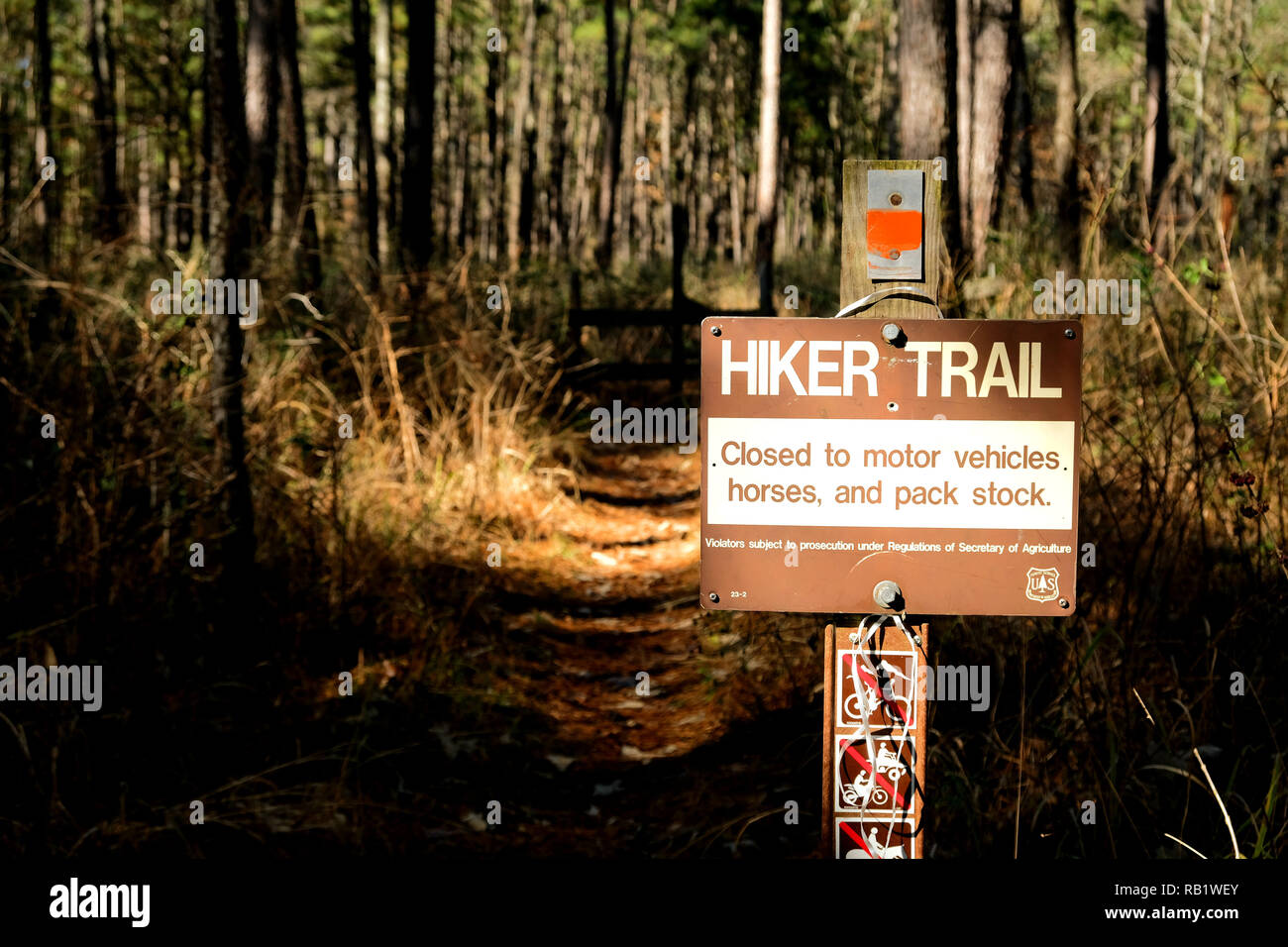 Hiker Trail sign at the Sam Houston National Forest in Texas prohibiting motor vehicles, horses, and pack stock from using the hiking trail. - Stock Image