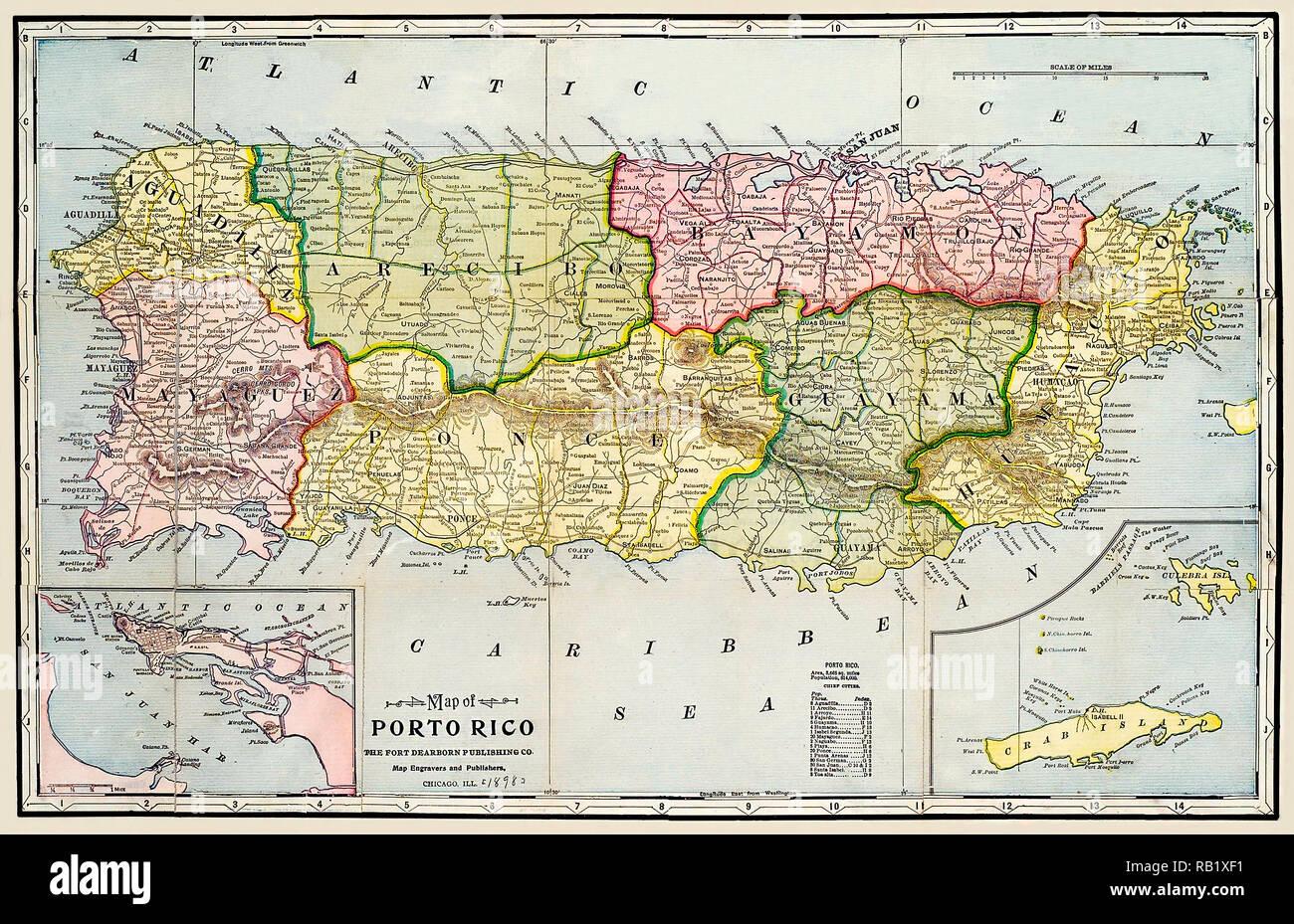 Map of Porto Rico [Puerto Rico] 1895 - Stock Image