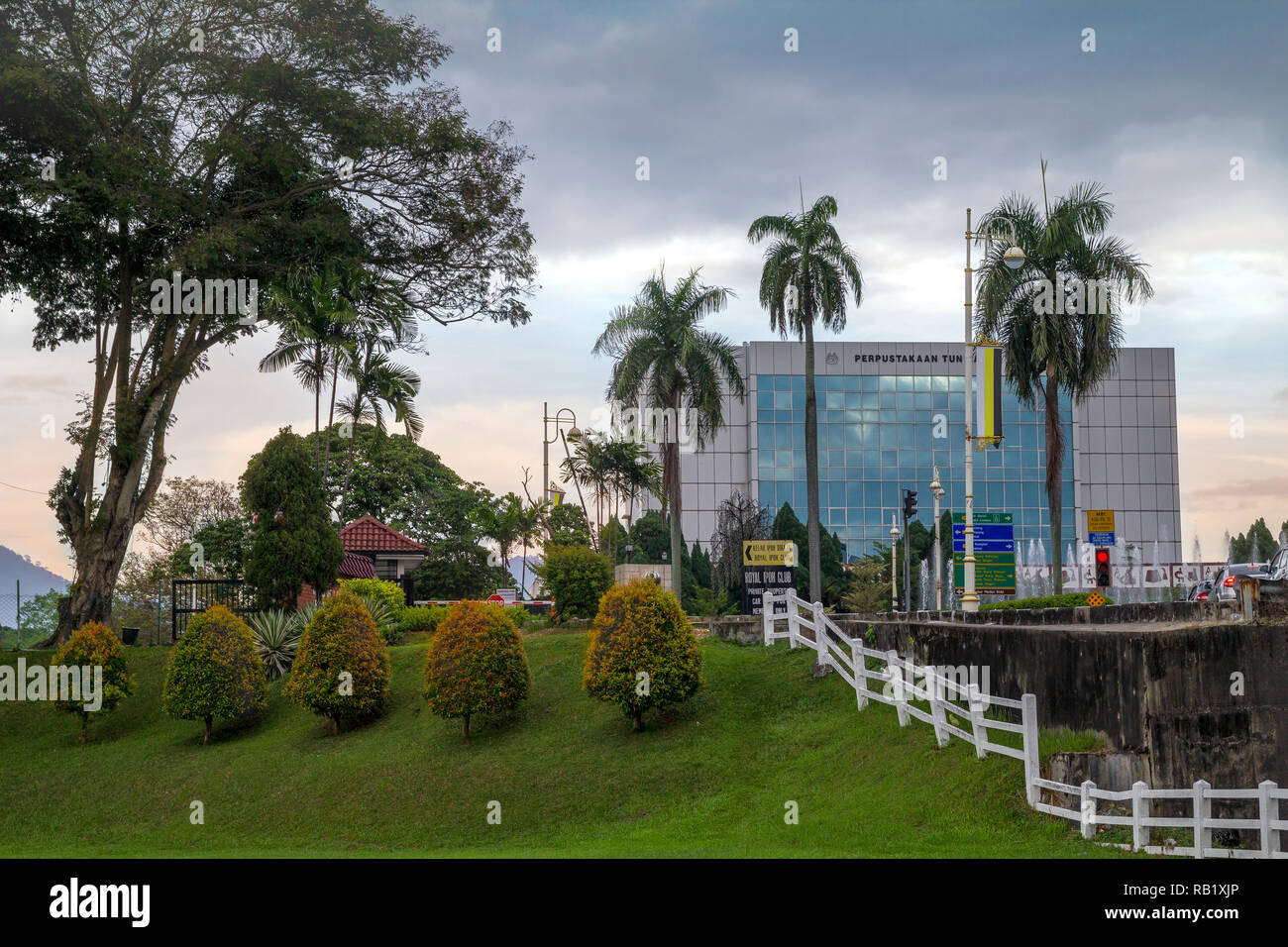 Overlooking Ipoh public library from Padang Ipoh Malaysia, under beautiful cloudy sky during rainy season - Stock Image