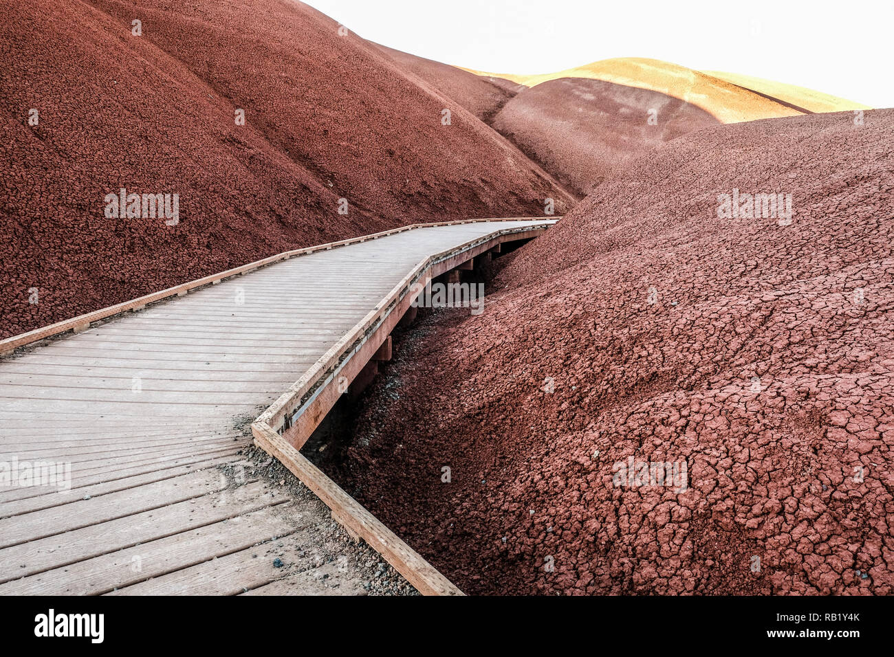 Board walk at Painted Hills at John Day Fossil Stock Photo