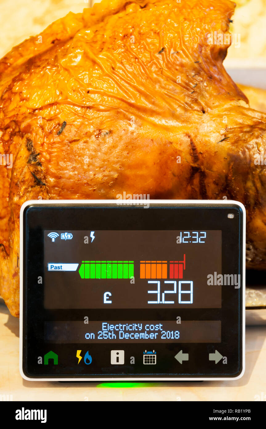 A Smart Meter shows electricity costs on Christmas Day with carved turkey in background. - Stock Image