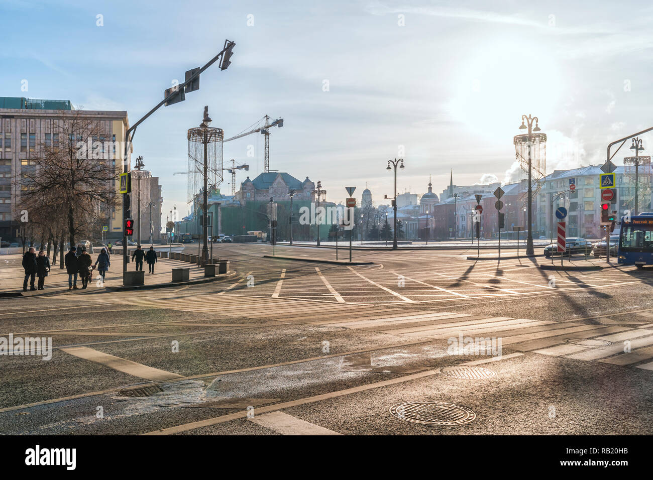 MOSCOW, RUSSIA - December 01.2018: Lubyanka Square, one of the oldest squares of the city, the former Dzerzhinsky Square - Stock Image