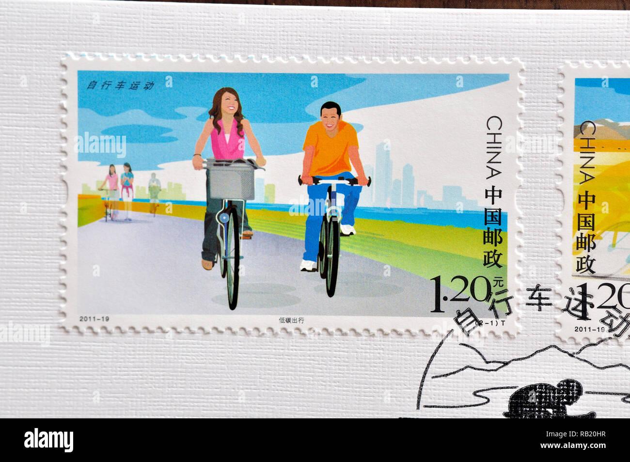 CHINA – CIRCA 2011: A stamps printed in China shows 2011- 19 Cycling , circa 2011. Stock Photo