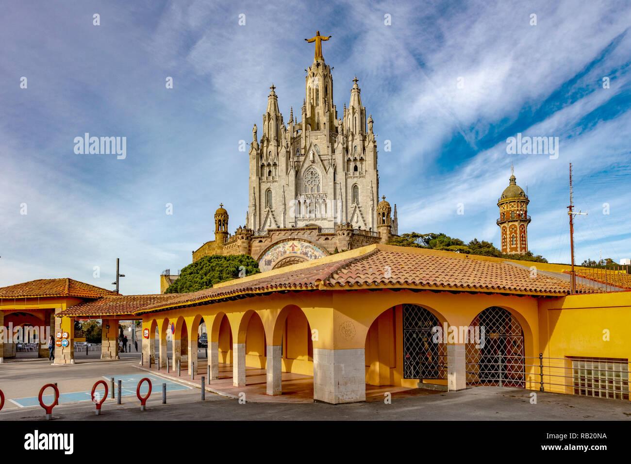 Kirche Sagrat Cor, Tibidabo, Barcelona, Katalonien, Spanien - Stock Image