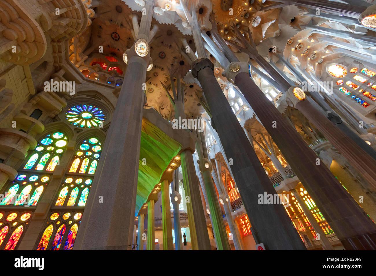 Innenansicht, Deckengewölbe Sagrada Familia, Barcelona, Spanien - Stock Image