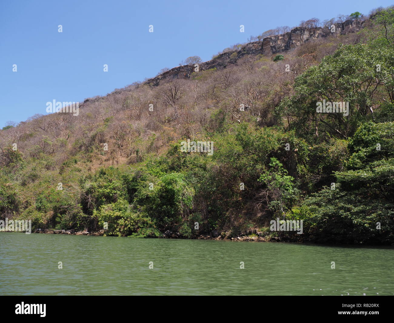 Scenic slope of Sumidero canyon at Grijalva river landscape in Chiapas state in Mexico - Stock Image