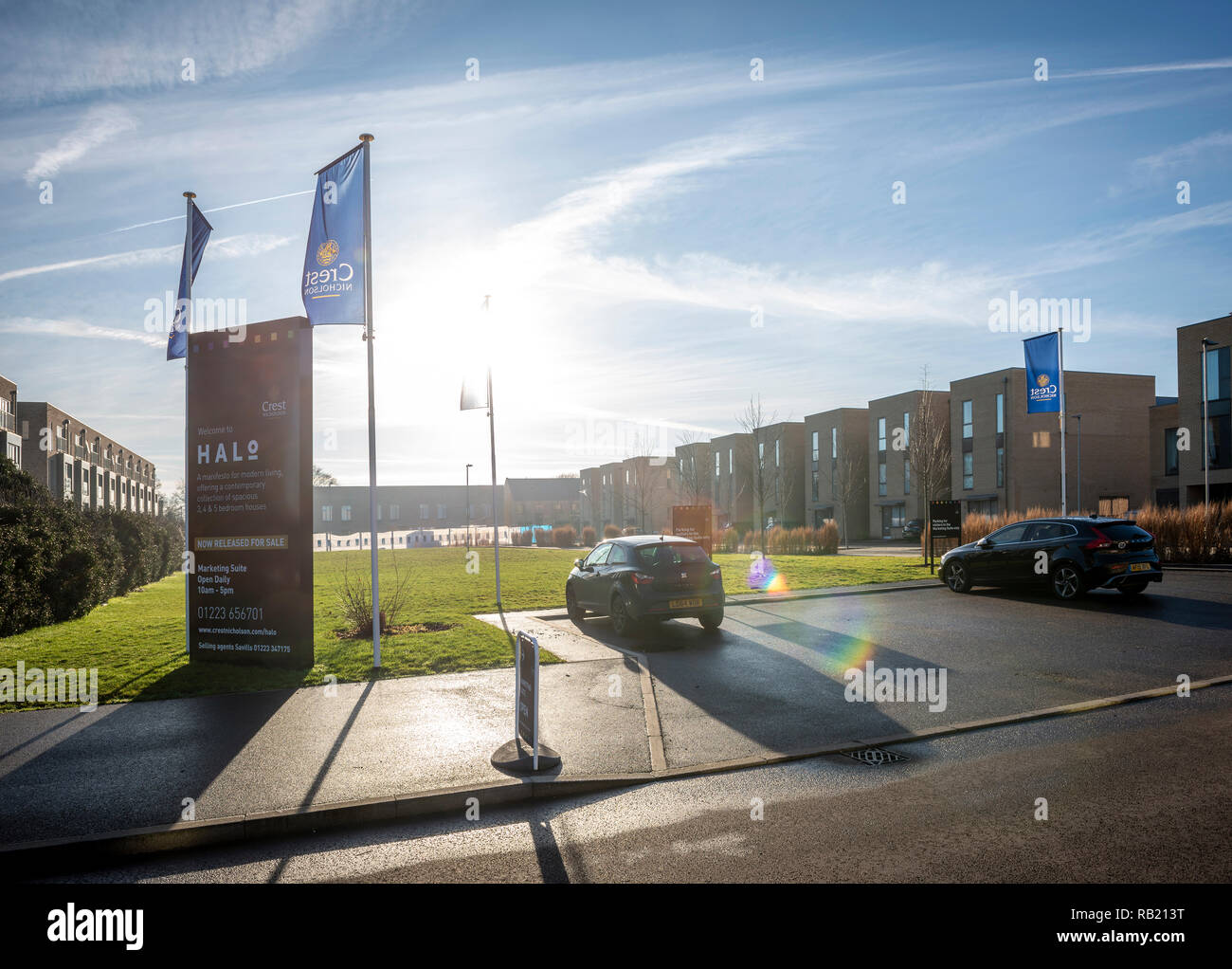 Modern housing in the Aura development on the outskirts of Cambridge, UK - Stock Image