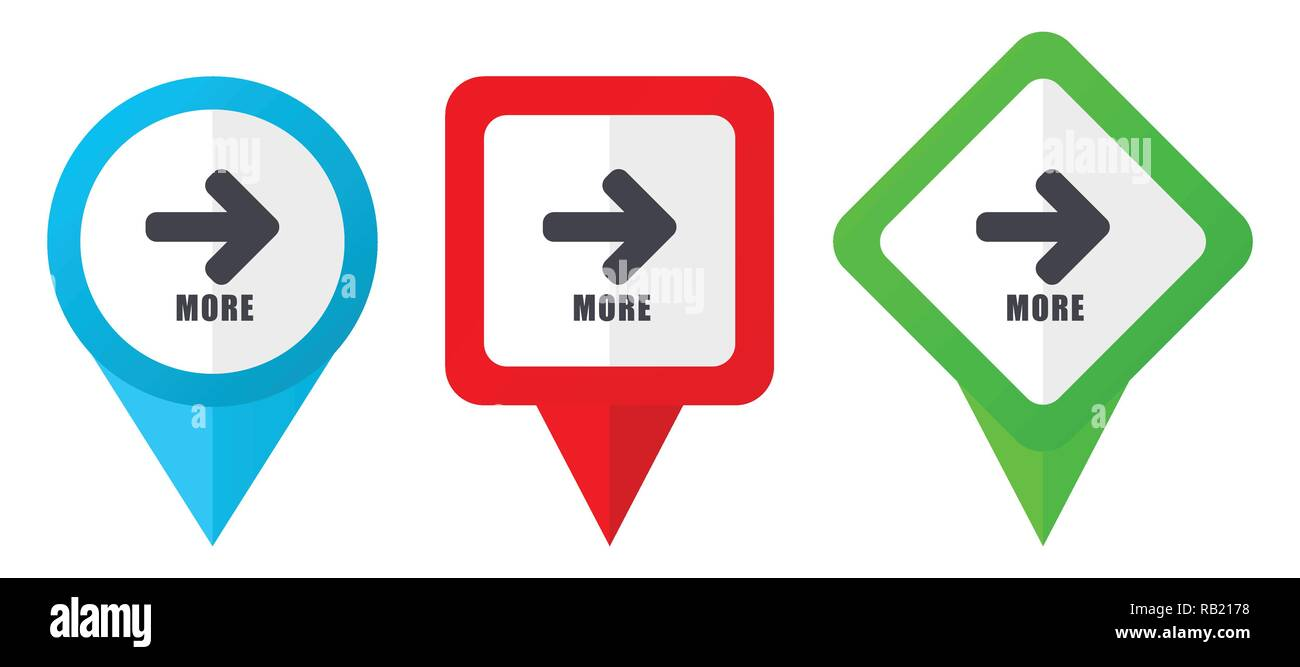 More red, blue and green vector pointers icons. Set of colorful location markers isolated on white background easy to edit in eps 10 - Stock Image