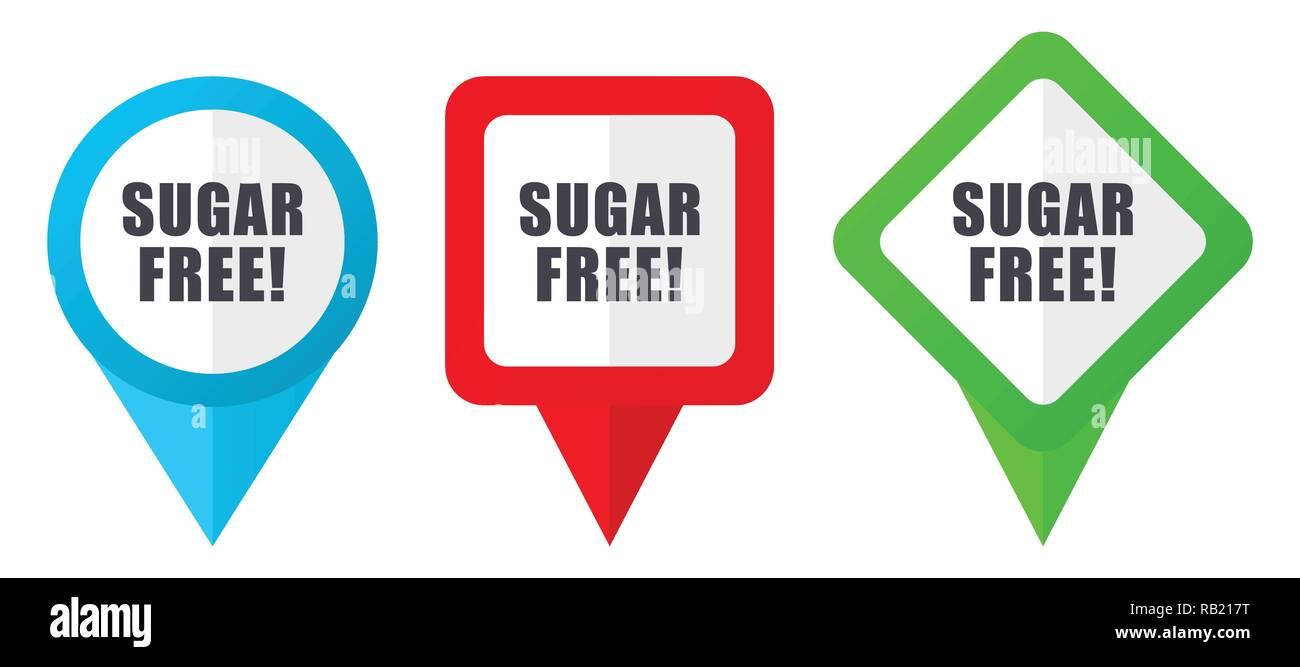 Sugar free red, blue and green vector pointers icons. Set of colorful location markers isolated on white background easy to edit in eps 10 Stock Vector