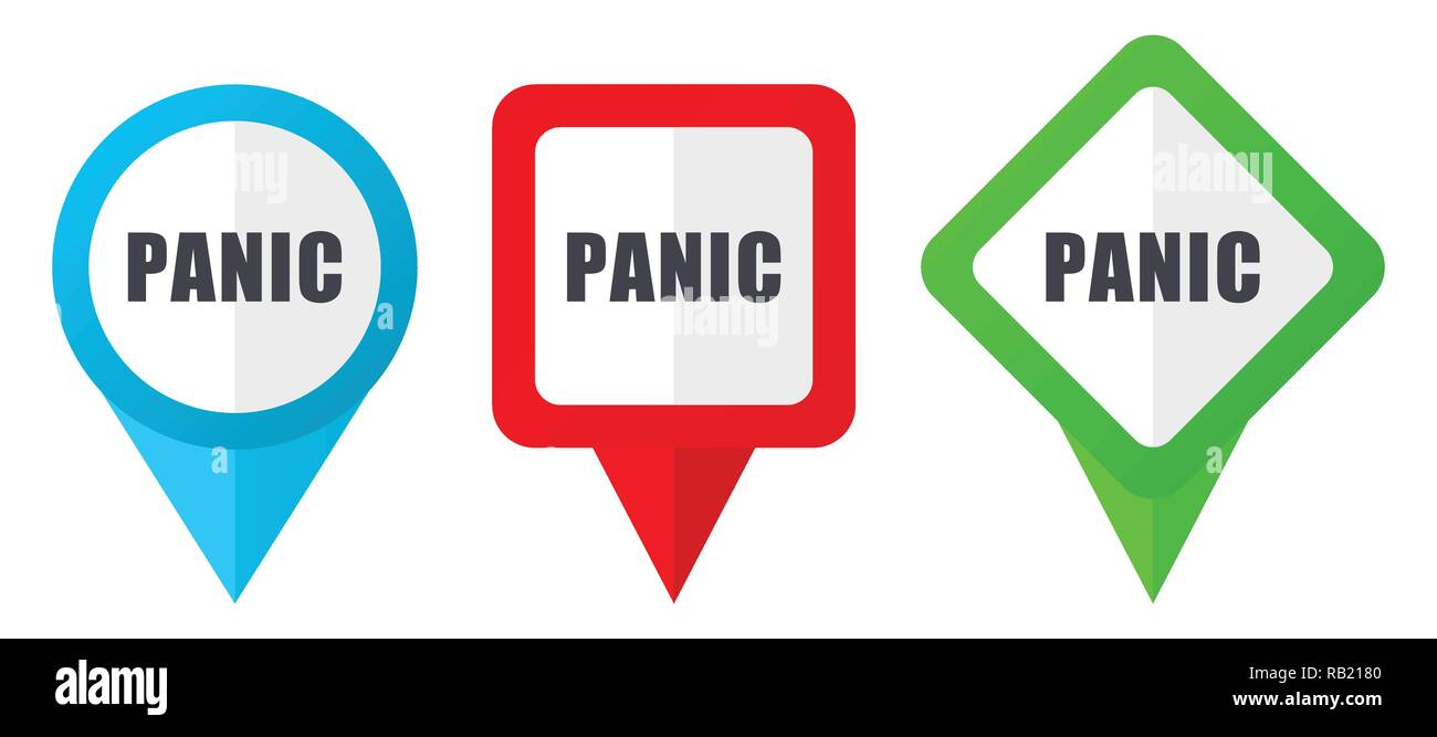 Panic red, blue and green vector pointers icons. Set of colorful location markers isolated on white background easy to edit in eps 10 - Stock Image