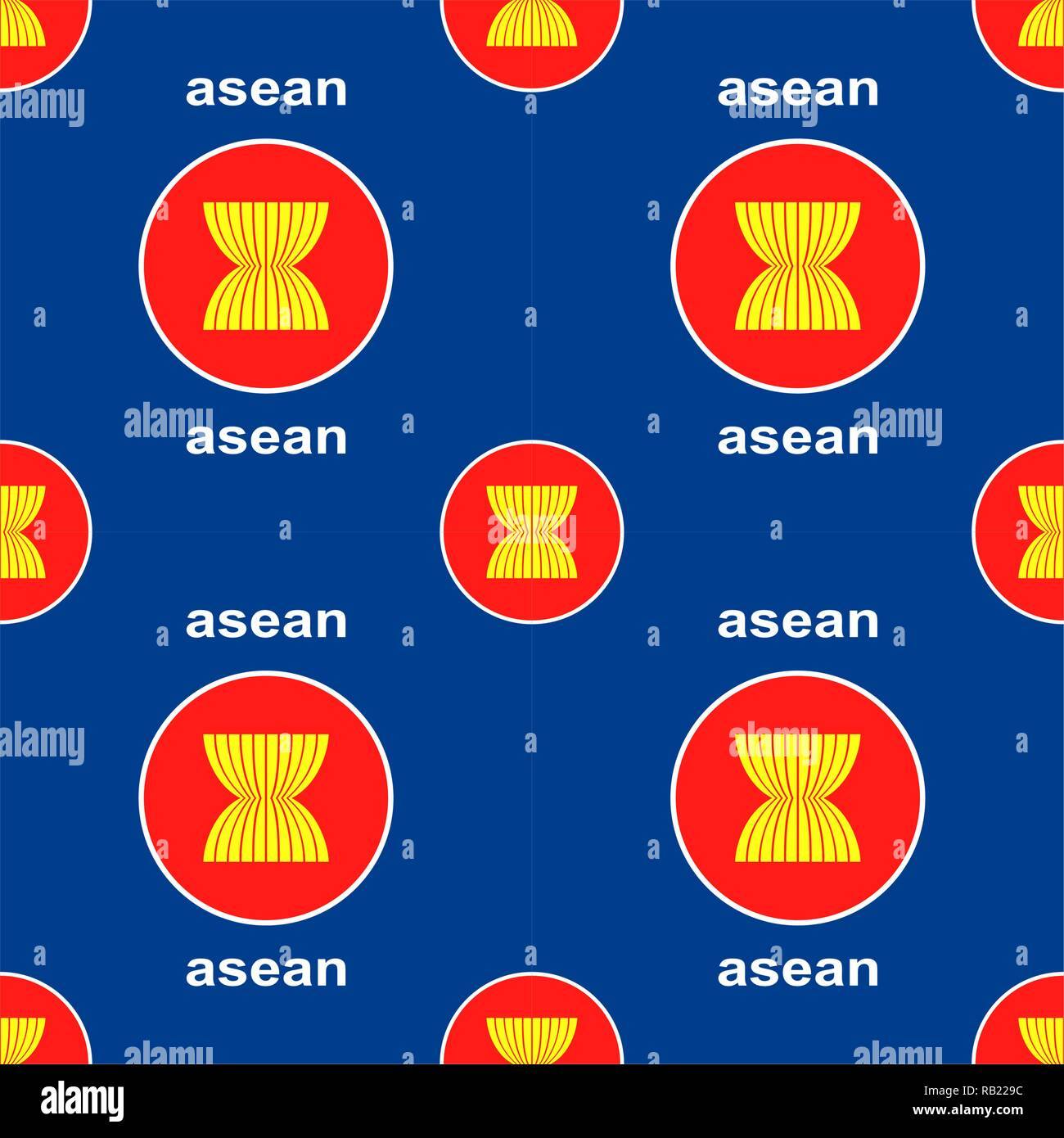 ASEAN union emblem seamless background - Stock Image