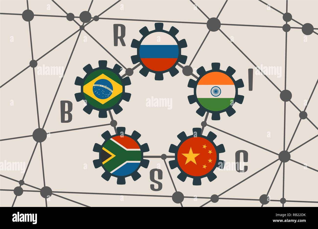 BRICS union members national flags on gears - Stock Vector