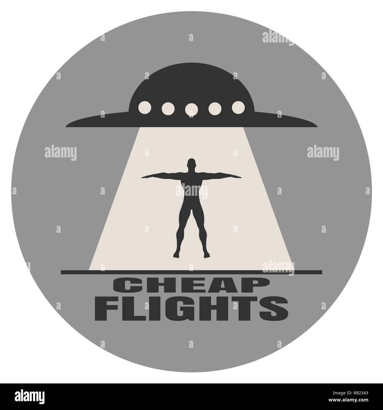 UFO abducting man Stock Vector
