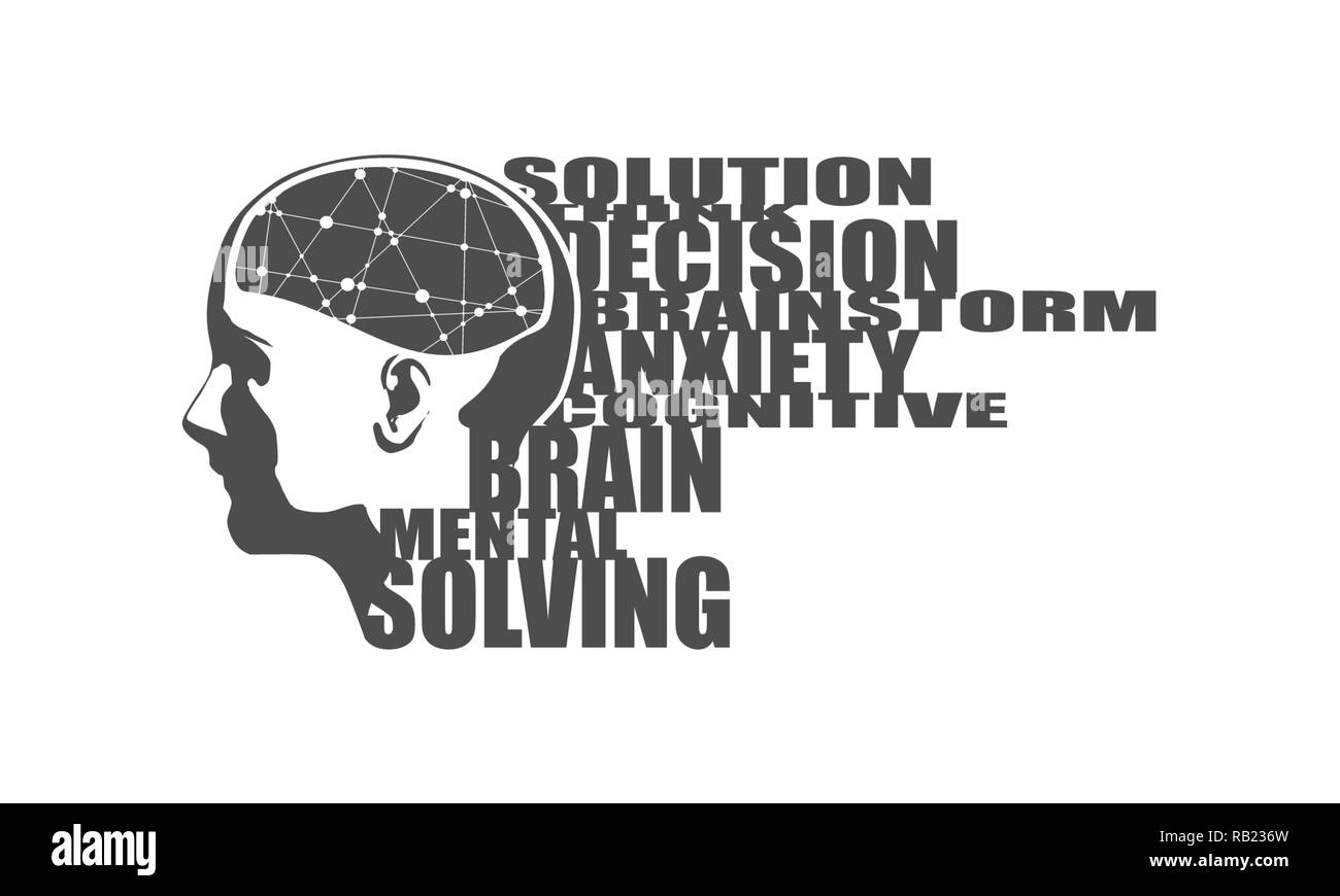 Illustration of a woman head with brain - Stock Image
