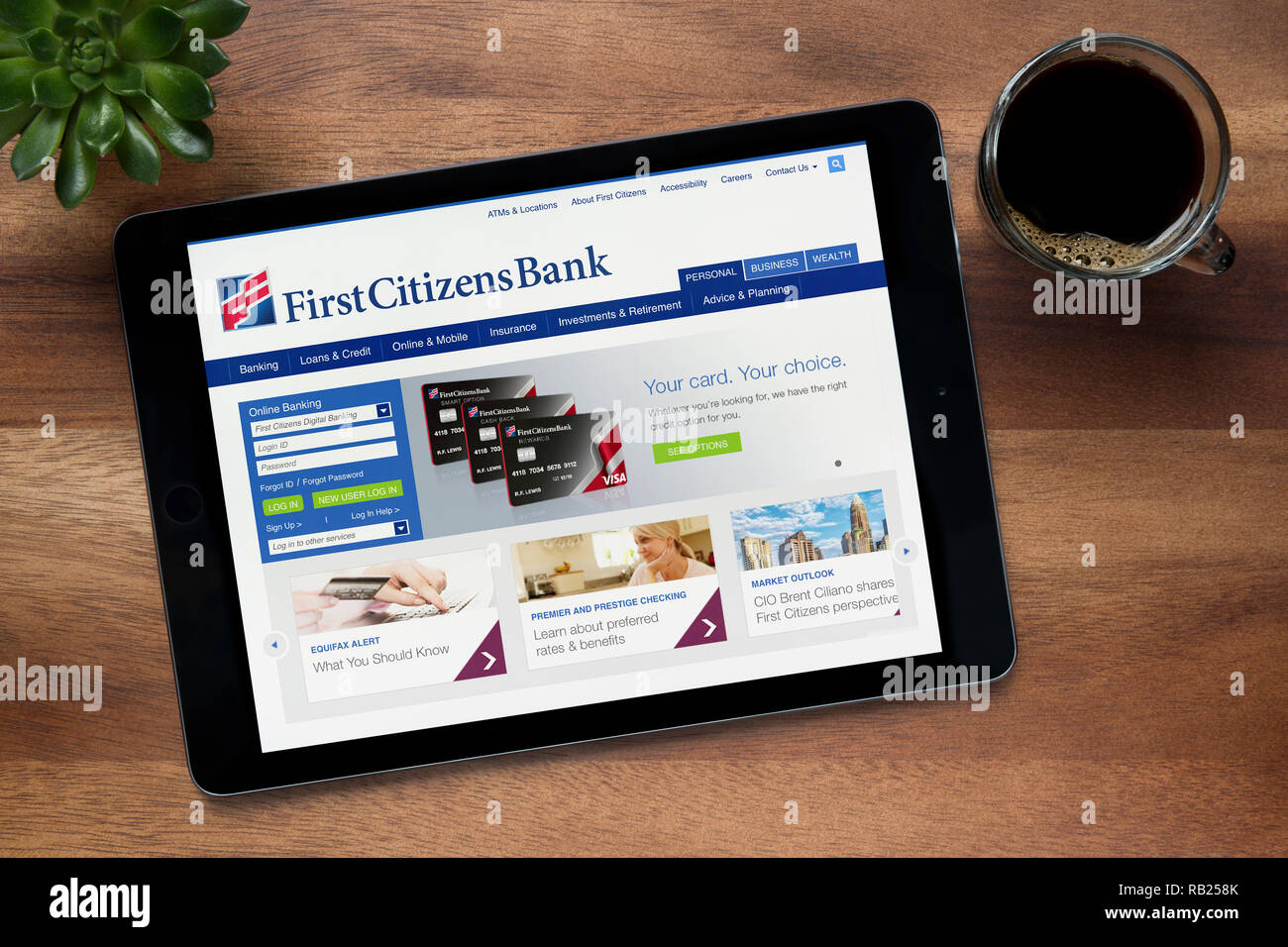 The website of First Citizens Bank is seen on an iPad tablet