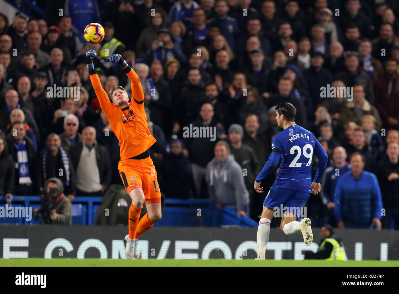 Wayne Hennessey of Crystal Palace denies Alvaro Morata of Chelsea scoring his third goal - Chelsea v Crystal Palace, Premier League, Stamford Bridge,  - Stock Image