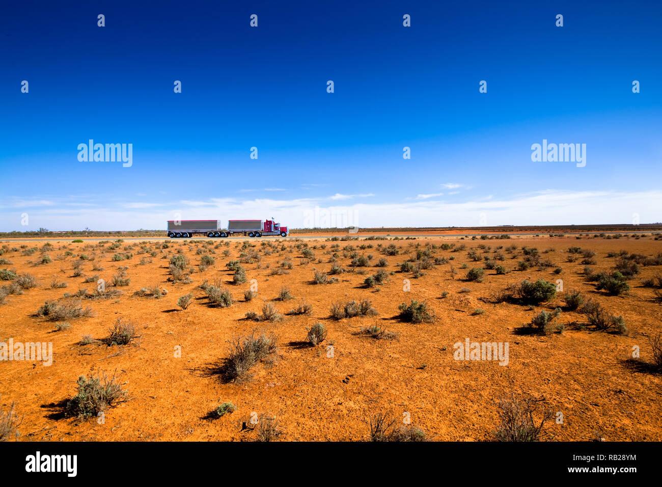 Bulk transport, travels through Semi-Arid region ofg outback Australia. - Stock Image