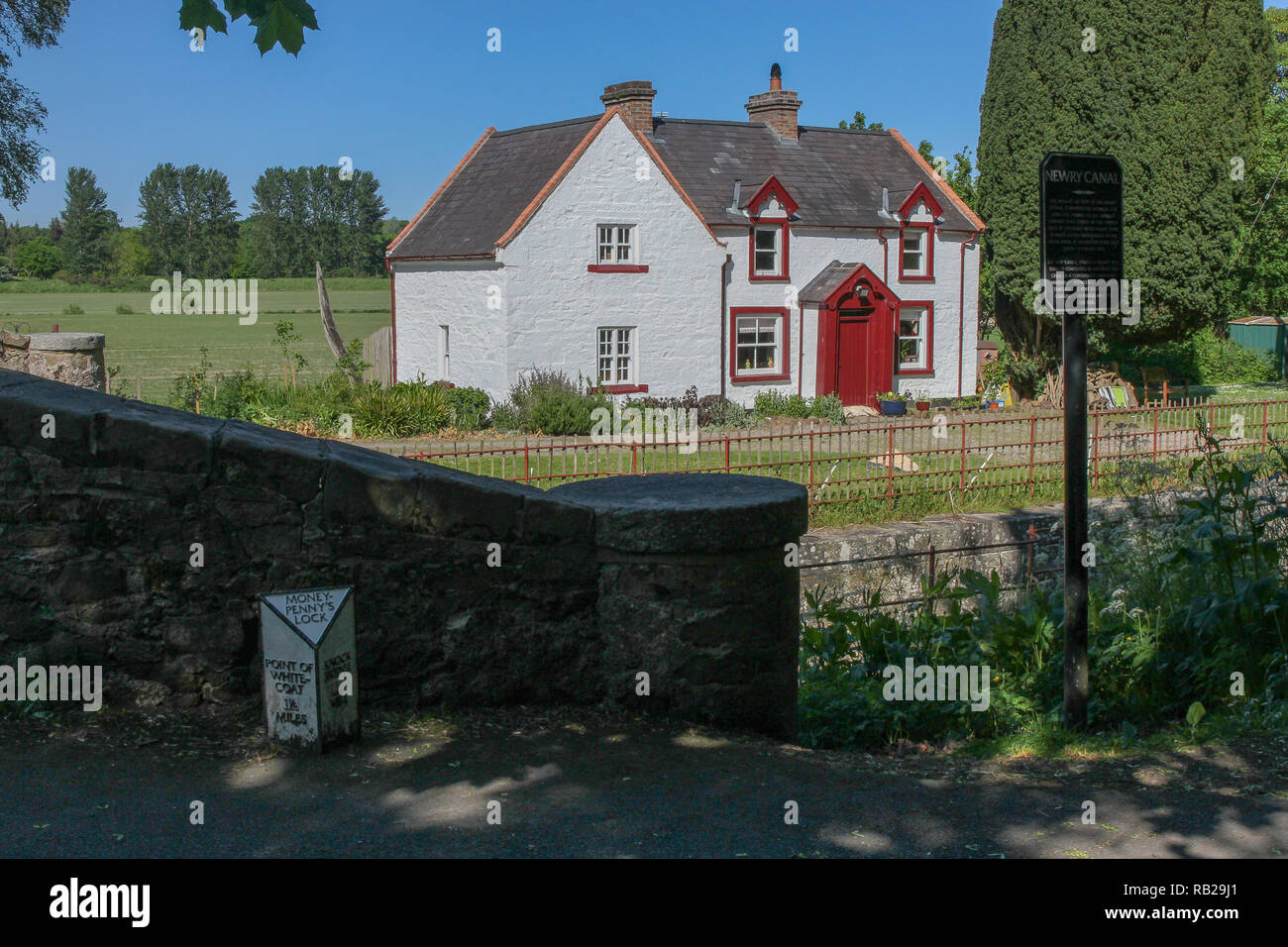 Moneypenny's. The Moneypenny lock and restored lock house on the Newry Canal, - Stock Image