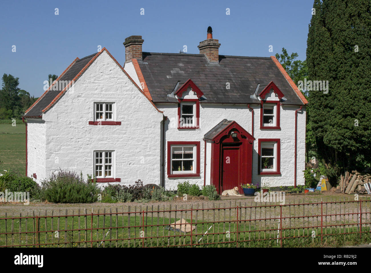Two story canal lock house. The whitewashed lock keepers house is on the Newry Canal, Northern Ireland and is known as Moneypenny's Lock. - Stock Image