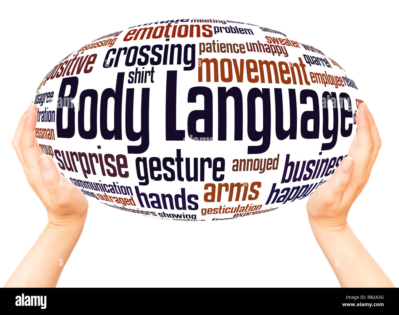 Body Language word cloud hand sphere concept on white background. - Stock Image