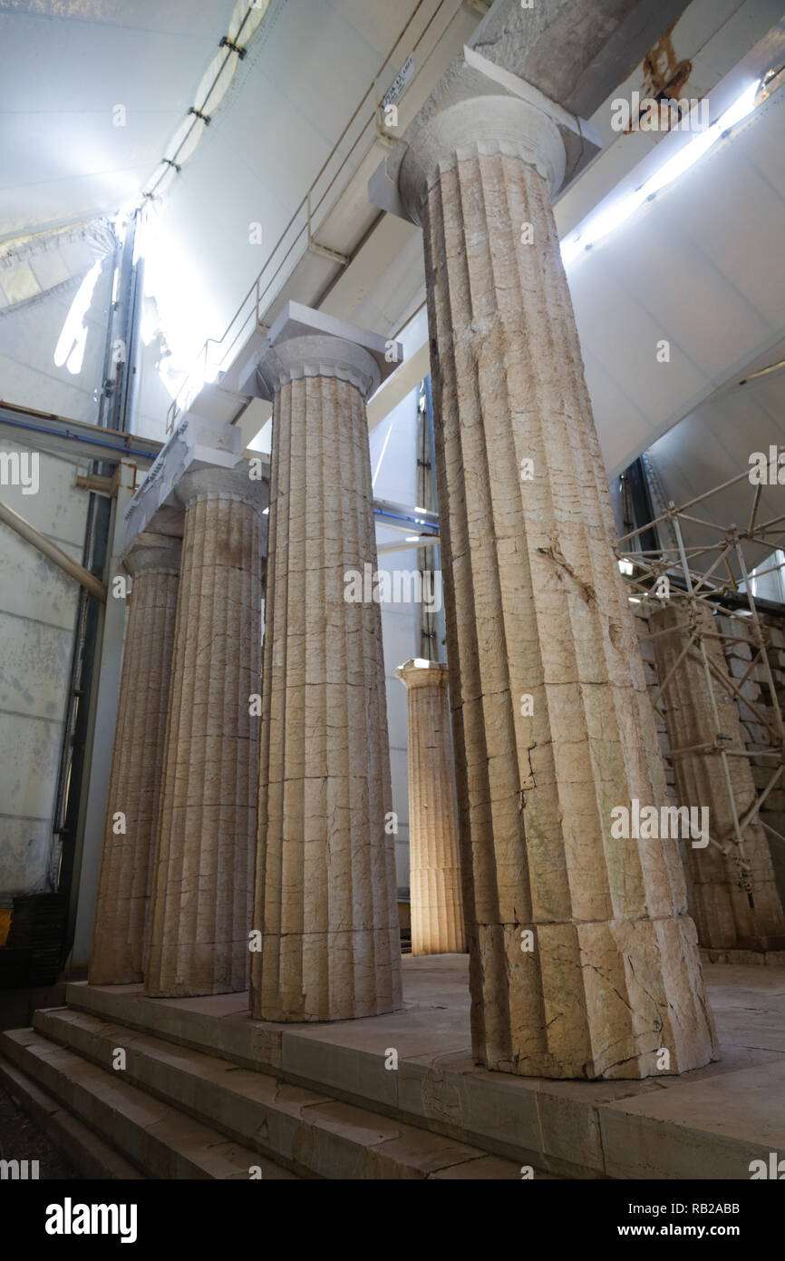 Ancient temple of Apollo restored under the protection of large canopy in Bassae (Vasses) Greece & Ancient temple of Apollo restored under the protection of large ...