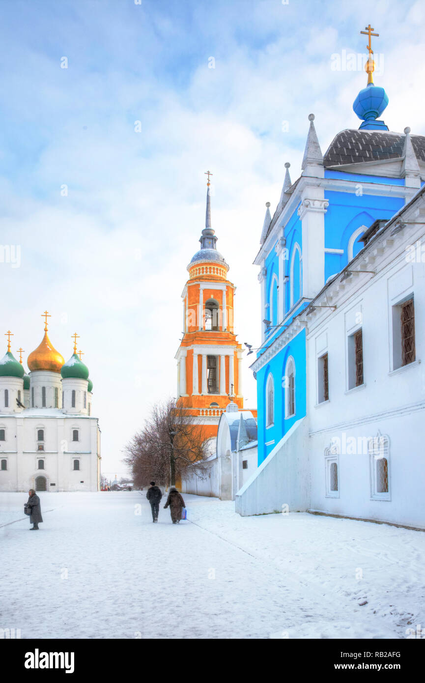 KOLOMNA, RUSSIA - January 05.2009: Historic temple complex on the territory of the Kremlin. The historic center of the city Stock Photo